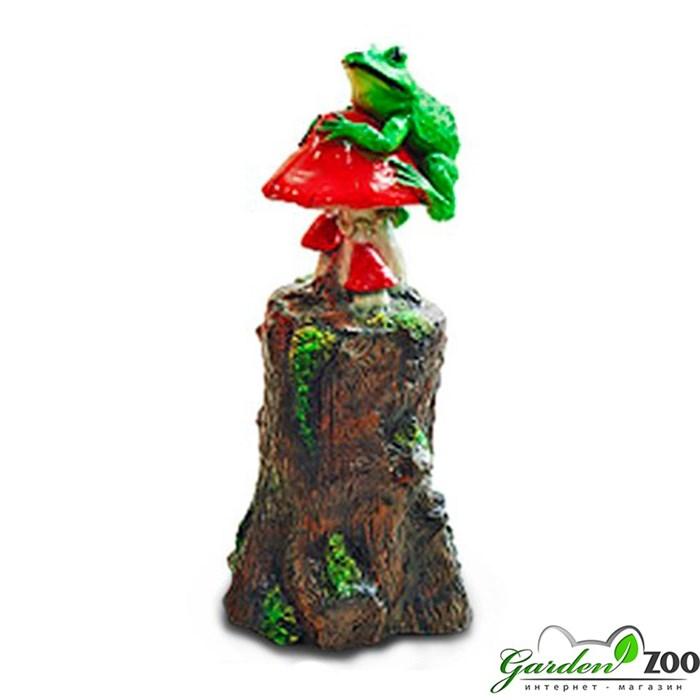 Садовая фигура Пень с лягушкой - фото 23008