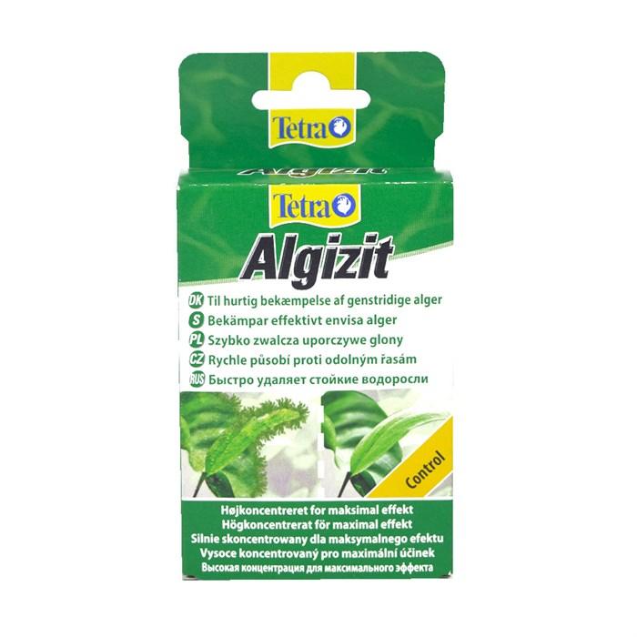Tetra Algizit - предназначен для борьбы с водорослями при сильном их развитии.  - содержит вещества, моментально уничтожающие водоросли и препятствующие их росту  - действует быстро и эффективно, своеобразный «стоп-кран»  - не приводит к окрашиванию воды Форма упаковки - 10 таблеток. Быстрое высвобождение действующего вещества – монолинурона, 19,5 мг/г.  Tetra Algizit - это препарат, который обеспечивает быстрое уничтожение водорослей при сильном их размножении в аквариуме. Algizit содержит комплекс активных веществ, в результате чего происходит быстрое устранение водорослей из аквариума.  При правильном использовании препарат Algizit не повреждает растения, не наносит ущерб полезной микрофлоре и не вызывает побочных эффектов.     Внимание: во время применения препарата нельзя фильтровать воду через активированный уголь и другие адсорбенты, а также использовать, совместно с Algizit, препараты других фирм во избежание их несовместимости.
