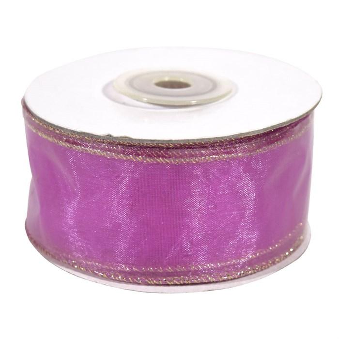 Лента Органза с проволокой 3см*10м розовая