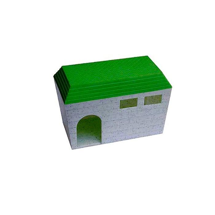Домик для грызунов состоит из 2-х частей основание и крыша из цветного полипропилена.