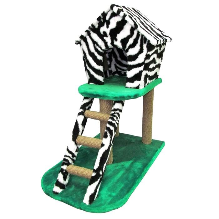 Домик-когтеточка на стойках с лестницей мех