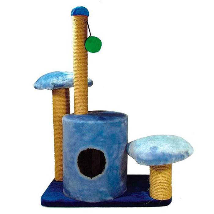 Домик-когтеточка круглый с игровой площадкой