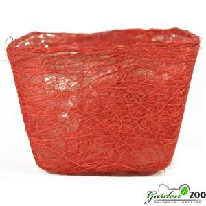 Корзина 100*140*145 квадратная ярко-красная из сизаля