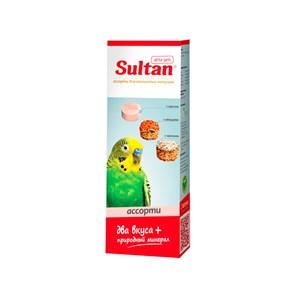 Минеральный камень Султан для птиц с просом, овощами и орехами