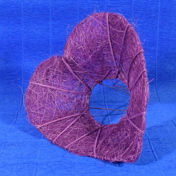 Каркас для букета 28 см сизаль Сердце фиолетовый