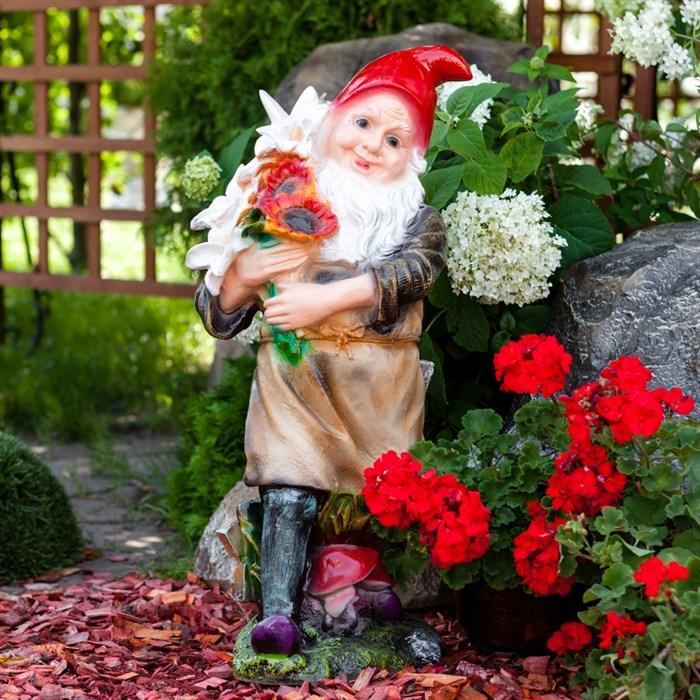 Фигура Гном с букетом - фото 54267