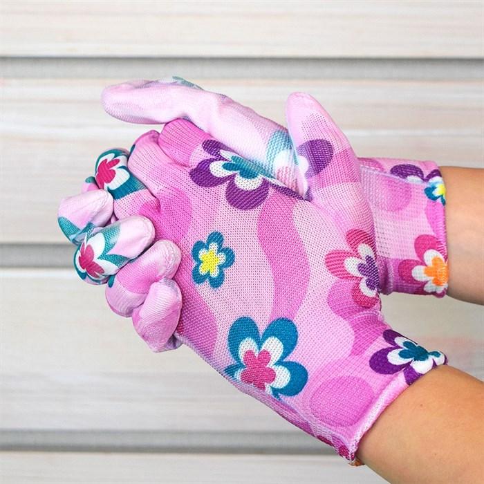 Перчатки нейлоновые Цветочек с нитрил.покрыт. - фото 63083