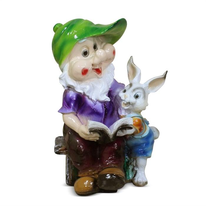 Фигура Гном с зайцем и книгой - фото 63285