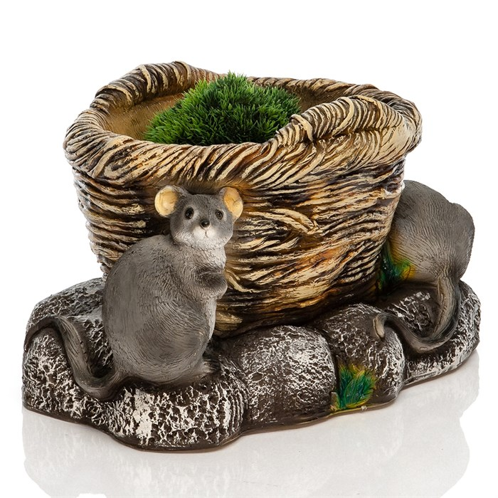 Кашпо Корзина с мышатами - фото 76988