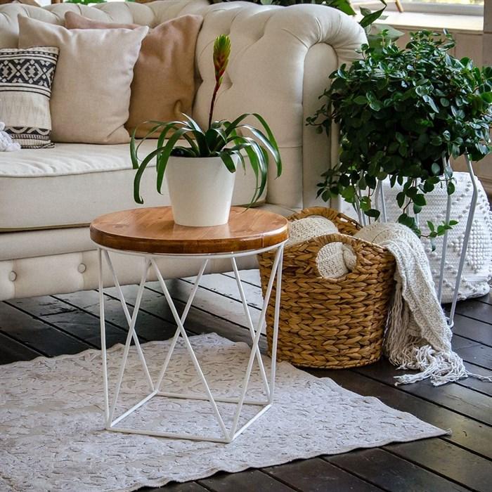 Стол журнальный Лофт металл белый со светлым деревом 66-119 - фото 82133