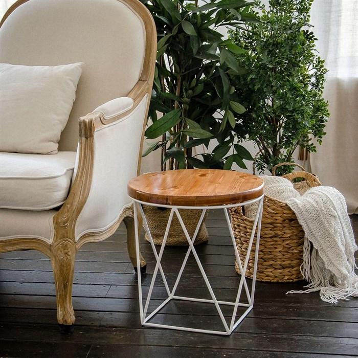 Стол журнальный Лофт металл белый со светлым деревом 66-119 - фото 82134