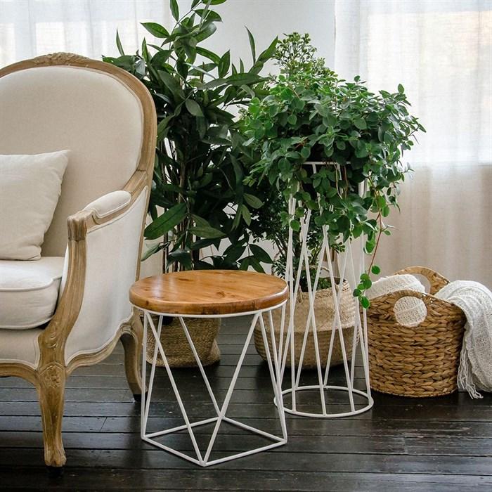Стол журнальный Лофт металл белый со светлым деревом 66-119 - фото 82136