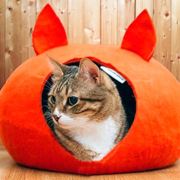 Домик-слипер L круг с ушками оранжевый - фото 84875