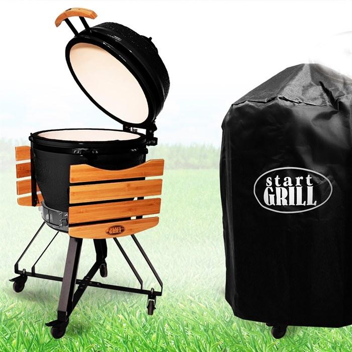 Гриль-барбекю яйцо керамический угольный черный, 56 см/22 дюйма - фото 87232