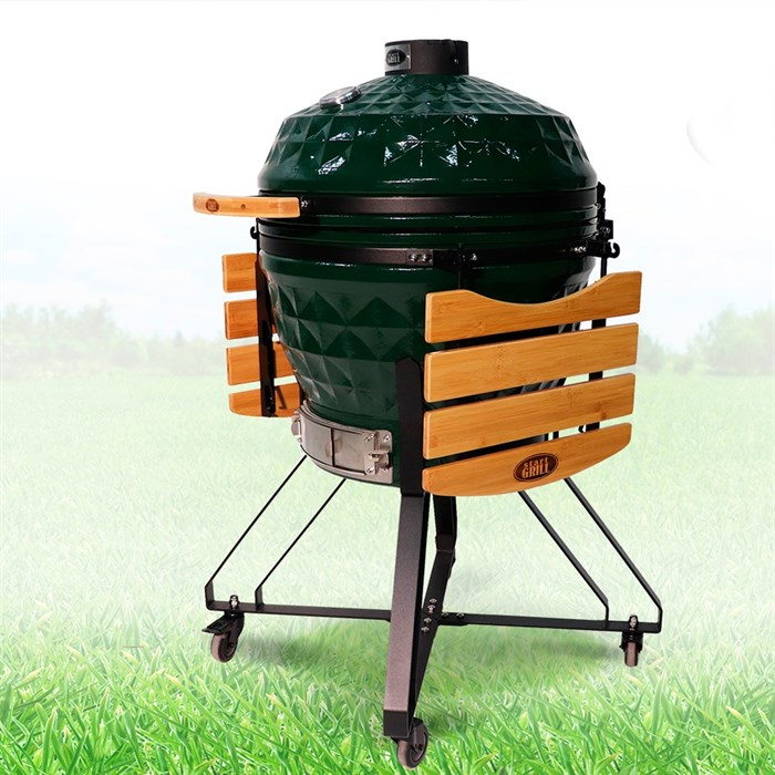 Гриль-барбекю яйцо керамический угольный зеленый, 61 см/24 дюйма - фото 87243