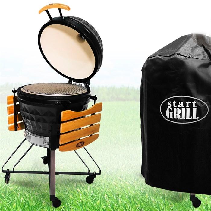 Гриль-барбекю яйцо керамический угольный черный, 61 см/24 дюйма - фото 87250