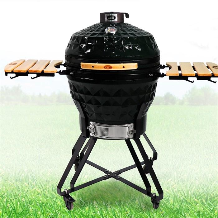 Гриль-барбекю яйцо керамический угольный черный, 61 см/24 дюйма - фото 87252
