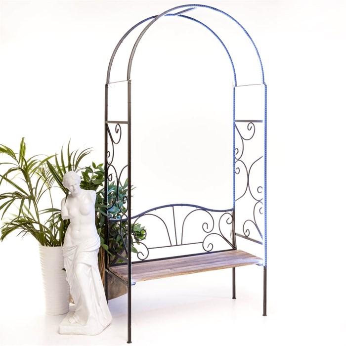 Арка садовая металлическая со скамьёй 860-64R - фото 92656