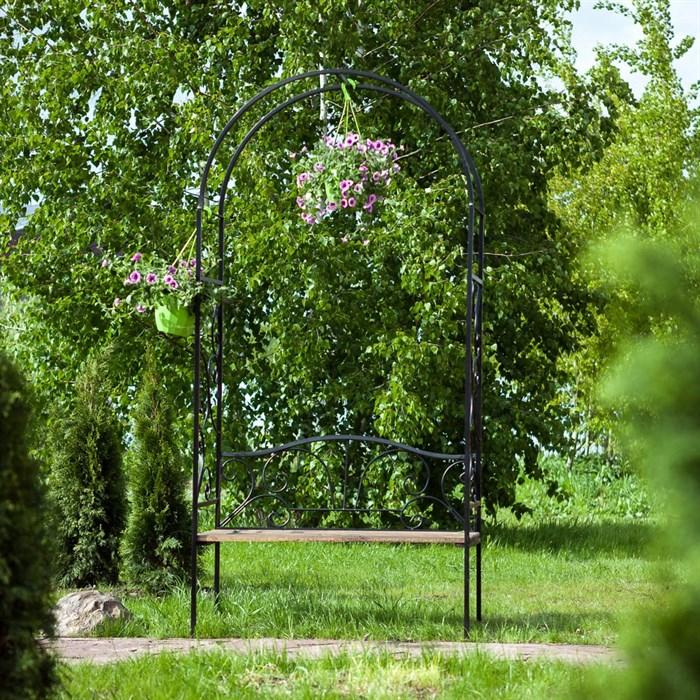 Арка садовая металлическая со скамьёй 860-64R - фото 92658