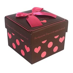 Коробка Квадрат цветная с бантом 10*10*8см