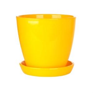Горшок ВИКТОРИЯ 16см глянец желтый