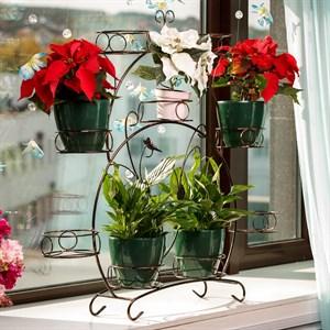 Подставка для цветов на подоконник на 9 цветов черно-золотая 14-909