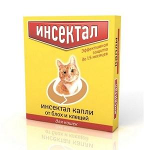 Капли Инсектал для кошек от блох и клещей