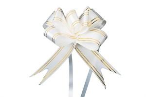 Бант-бабочка 18мм золотая полоса белый