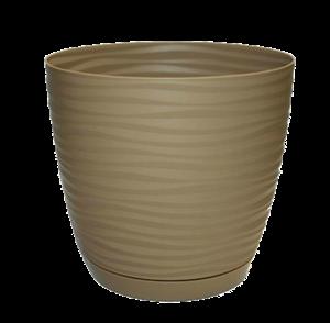 Кашпо САХАРА петит 13 12,7*11,8*1 кофе латте с подставкой - фото 52353