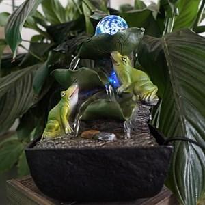 Фонтан настольный с подсветкой Лягушки с шаром Грин Эпл