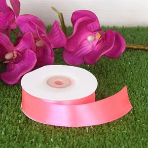 Лента атлас 25мм х 25 м К ярко-розовая