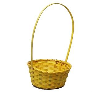 Корзина плетеная бамбук 9*20/35см желтый