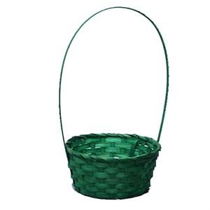Корзина плетеная бамбук 9*20/35см зеленый