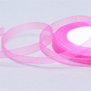 Лента Органза 10мм*30м ярко-розовая