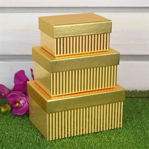 Набор коробок 15,7*11,2*8,2см 3шт с полосками золотая