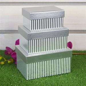 Набор коробок 15,7*11,2*8,2см 3шт с полосками серебряная
