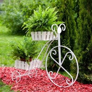 Подставка садовая для цветов 59-422W на 2 цветка белая (металл и дерево)