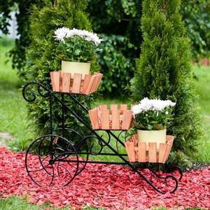 Подставка на 3 цветка металл+дерево