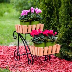 Подставка на 2 цветка металл+дерево