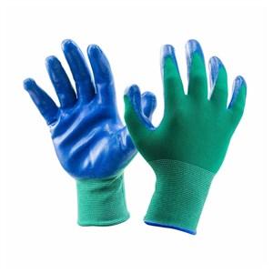 Перчатки нейлоновые Люкс с нитрил.покрыт. зелено-синие