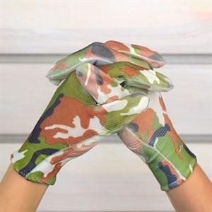 Перчатки нейлоновые Цветочек с нитрил.покрыт. - фото 63082