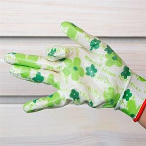 Перчатки нейлоновые Цветочек с нитрил.покрыт. - фото 63084