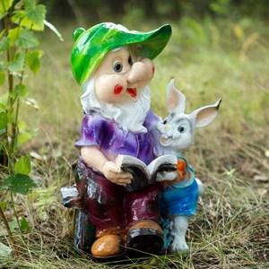 Фигура Гном с зайцем и книгой - фото 63286