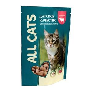 Корм Олл Кэт для кошек 85г говядина в соусе паучи