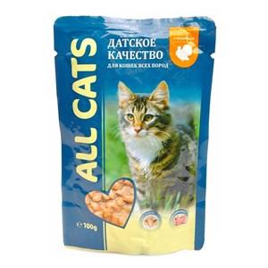 Корм Олл Кэт для кошек 85г индейка в соусе паучи