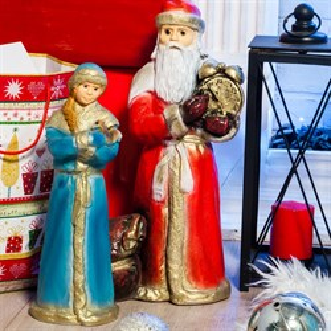 Фигура Дед Мороз с часами F08434