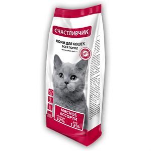 Корм Счастливчик для кошек 400гр мясное ассорти