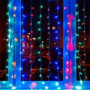 Светодиодная гирлянда штора 320 ЛЭД 3*2 разноцветная
