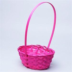 Корзина плетеная бамбук 20*16*9см розовый