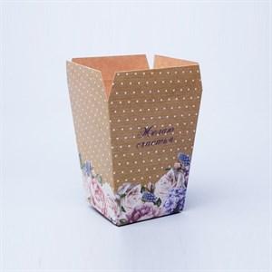 Плайм пакет для цветов Желаю счастья 220*175/125 Цветы и горошек